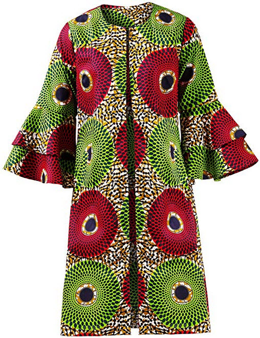 Shenbolen Women African Print Jacket Dashiki Traditional Top Dress B