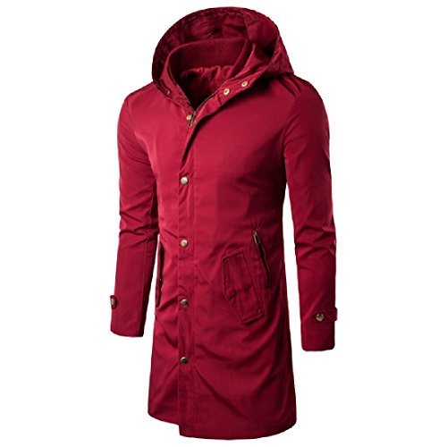 Sheng Xi Mens Simple Oversize Hooded Outwear Jackets Mid Long Trench Coat.