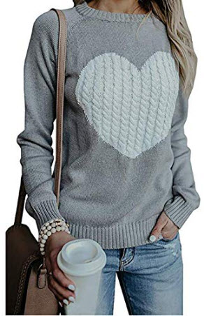 shermie Women's Pullover Sweaters Long Sleeve Crewneck Cute Heart Knitted Sweater, grey
