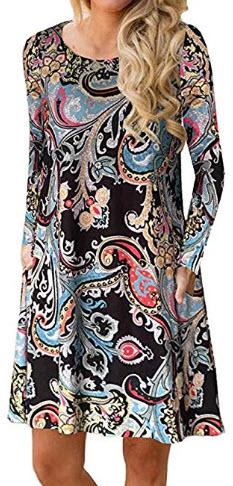Sherosa Women's Fall Long Sleeve Pockets T Shirt Dress Casual Loose Swing Dresses