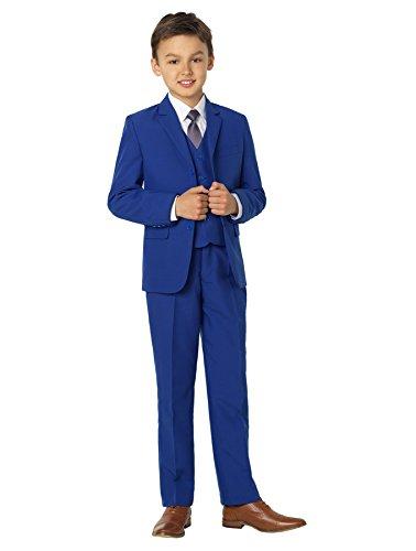 Shiny Penny, Boys blue formal 5 piece suit set with shirt & vest.