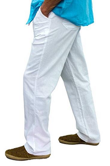 Short Fin Men's Drawstring Linen Pants .