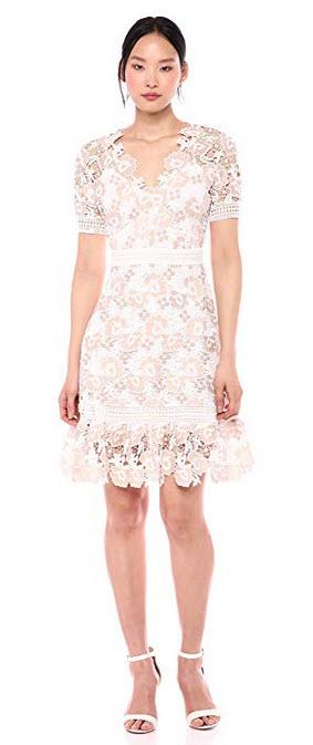 Shoshanna Womens Toscana Dress ivory / sand