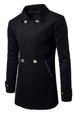SHOWNO Men Trench-Coat Solid Fall & Winter Wool-Blend Double Breasted Pea Coat Jacket
