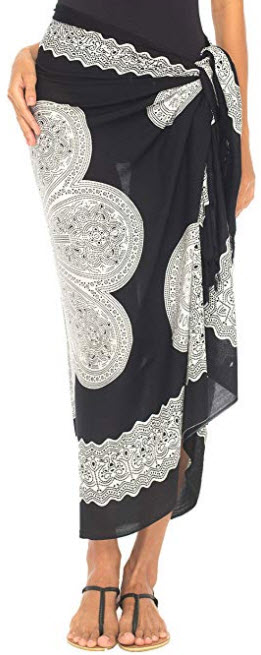 SHU-SHI Womens Beach Swimsuit Cover Up Flower Sarong Wrap with Coconut Clip, black white