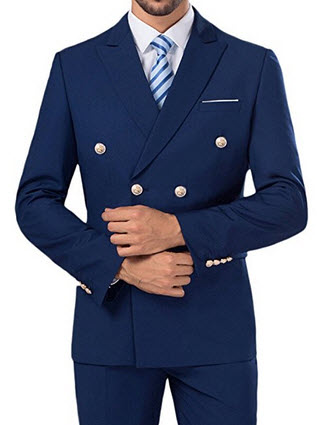 SI PEI Men's Double Breasted 3pc Business wedding Suits Blue.