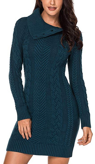 Sidefeel Women Asymmetric Buttoned Cable Knit Bodycon Mini Sweater Dress Jumper green