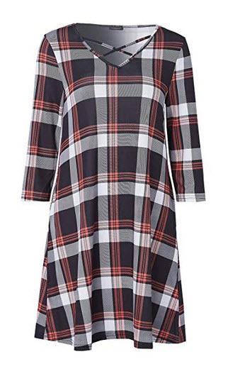 Siding Womens Plaid Tunic Dress Criss Cross 3/4 Sleeve Black Orange Plaid