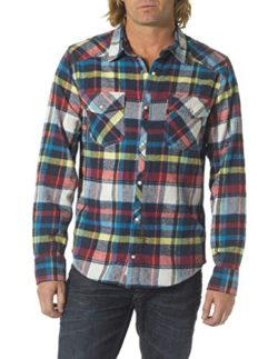 Silver Jeans Men's Red Plaid Flannel Shirt Large