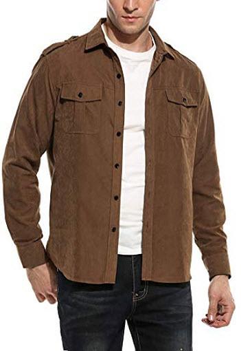 Simbama Men's Casual Long Sleeve Shirts Faux Suede Button Down Collar Shirt, brown