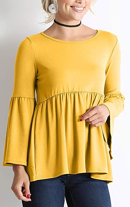 Long Ruffle Sleeve Babydoll Peplum Reg and Plus Size Tops for Women – Made in USA  mustard