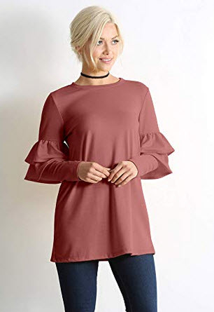 simlu Long Sleeve Tunic Tops for Women Regular and Plus Size with Ruffle Sleeve – dark mauve