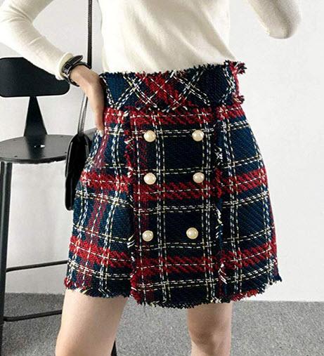 Simplee Women's Elegant Plaid Tweed High Waist Zipper Front A Line Mini Skirt red