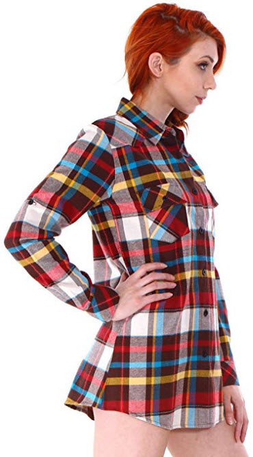 Simplicity Women's Classic Roll Up Sleeve Plaid Flannel Button Down Shirt rainbow