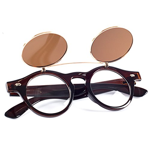 Simwood™ NEW Steampunk Goth Goggles Glasses Retro Flip Up Round Sunglasses Vintage Brown