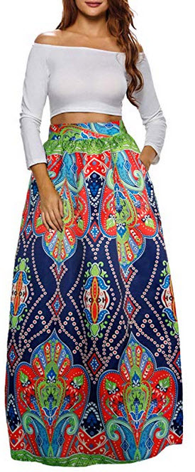 Sinono Womens African Printed Maxi Skirt Flared A Line Long Skirts navy blue