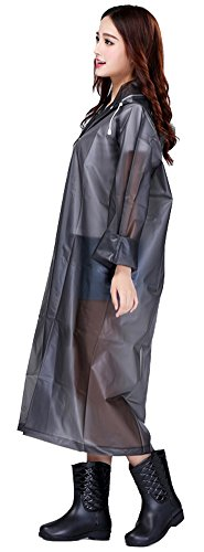 Sister Amy Women's Lightweight Hooded Raincoat Outdoor Cover Long Rainwear