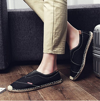 SITAILE Mens Espadrilles Flat Slip On Canvas Casual Beach Summer Shoes black