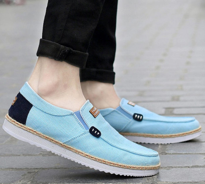 SITAILE Men's Flexible Flat Slip On Plimsolls Pumps Canvas Shoes Casual Espadrille blue