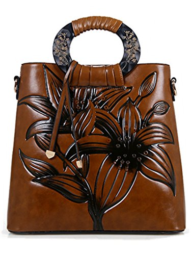 Skyseen Embossed Floral Handbags and Purses PU Leather Tote Handbag for Women Top Handle