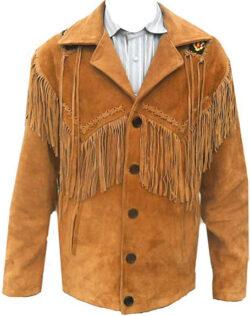 SleekHides Men's Western Cowboy Leather Coat Fringes & Beads