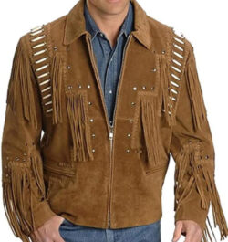 SleekHides Men's Western Cowboy Leather Jacket Fringed and Bones