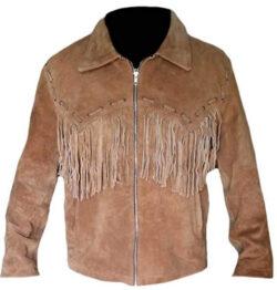 SleekHides Men's Western Style Suede Leather Cowboy Fringed Jacket, brown