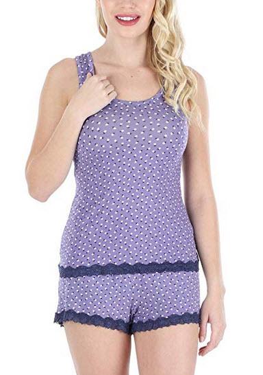 Sleepyheads Womens Sleepwear Stretchy Knit 2-Piece Lace Trim Tank Top & Shorts Pajamas Set L ...