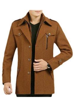 Smallwin Men's Single Breasted Zipper Pocket Button Lapel Neck Wool Blend Coat Jacket