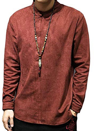 Smeiling Men's Chinese Style Long Sleeve Faux Suede Shirts Autumn Loose Shirt wine red
