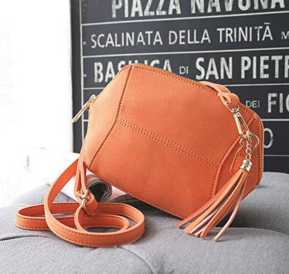 Smilecoco Women Vintage Suede PU Leather Tassel Shoulder Bags Cross body Bags Small Purse orange