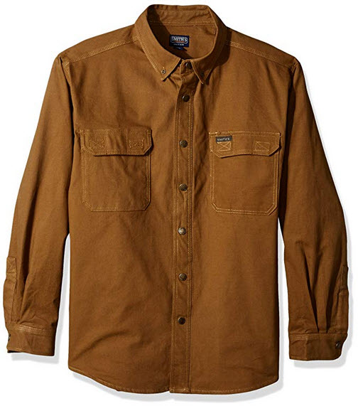 Smith's Workwear Men's Flannel Lined Canvas Work Shirt rugged tan