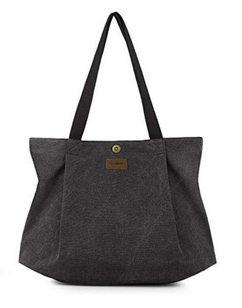 SMRITI Canvas Tote Bag for Women School Work Travel and Shopping black