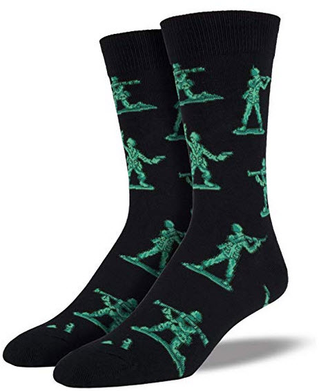 Socksmith Men's King Socks Army Men Crew Black (King Size, Sock Size 13-16)