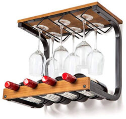 Soduku Wine Rack Wall Mounted Handmade Metal & Wood Wine Countertop Rack Wine Storage Shelf  ...
