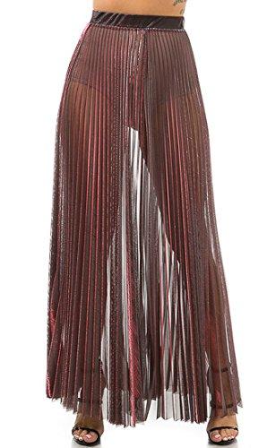 SOHO GLAM Pleated Sheer Maxi Skirt In Metallic Red