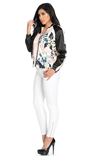 SOHO GLAM Satin Two Tone Floral Bomber Jacket In Light Pink