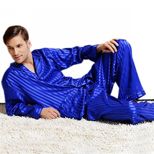 Sonjer Mens Silk Satin Pajamas Set Pajama Pyjamas Set Pjs Sleepwear Set Loungewear
