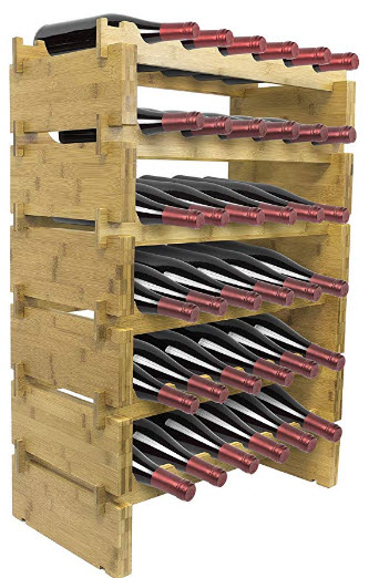 Sorbus 6-Tier Stackable Bamboo Wine Rack— Classic Style Wine Racks for Bottles— Perfect for Bar, ...