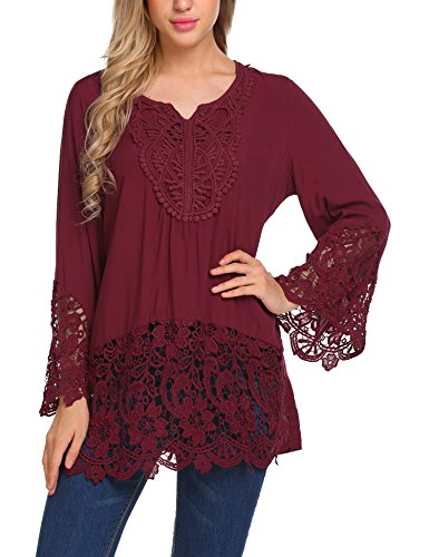 Soteer Women's Casual Lace Splice Flare Sleeve Flowy Loose Peplum Boho Blouse T-shirt Tops