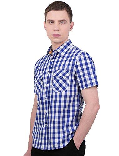 Sourcingmap Allegra K Men Point Collar Patch Pockets Short Sleeves Checks Button Down Shirt