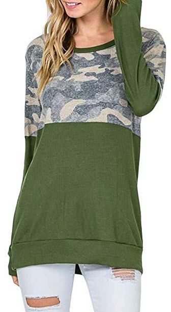 Spadehill Women Casual Camo Color Blocked Long Sleeve Sweatshirt olive