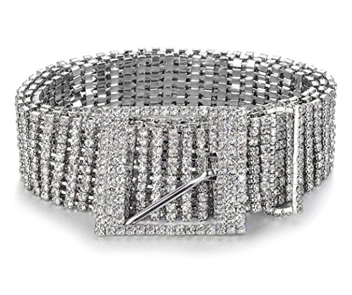 Spatart Crystal Metal Chain Belts Women's Rhinestone Waist Belt by Amiveil