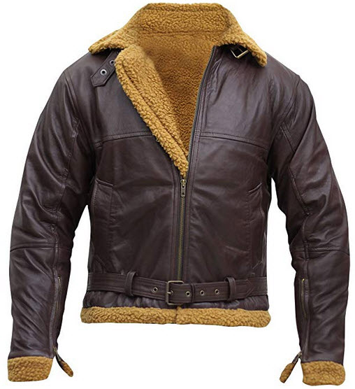 Spazeup Mens B3 Flight Shearling Pilot Real Sheepskin Brown Bomber Cockpit Leather Jacket brown