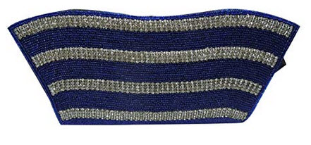 Spice Art Cotton Silk Navy Blue Beaded Embroidered Clutch for Ladies