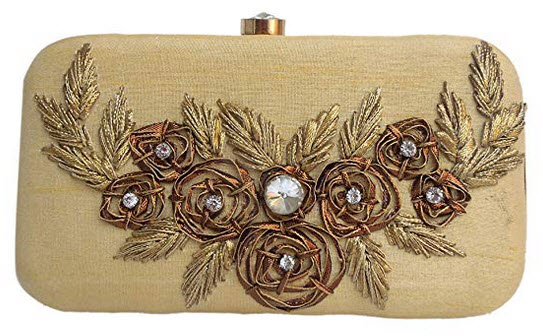 Spice Art Golden Gota Patti Zardozi Embroidered Designer Box Clutch for Ladies