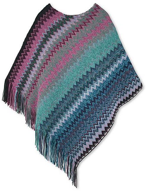 Spicy Sandia Ponchos for Women Fringe Zig Zag Knit Poncho Sleeveless Pullover Soft Wrap green purple