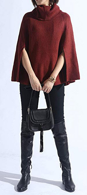 Spicy Sandia Women Turtleneck Poncho Sweater Cape Knit Pullover Solid Sweaters brick