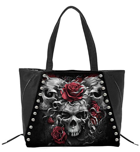 Spiral – Skulls N' Roses – Tote Bag – Top quality PU Leather Studded