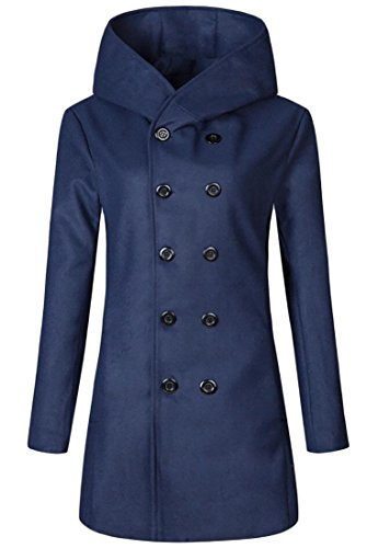 Spirio Men's Outwear Double Breasted Hoodie Overcoat Trench Pea Coat Jackets